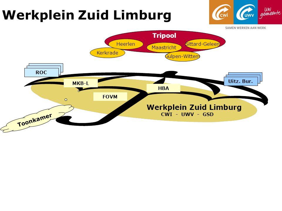 Werkplein Zuid Limburg Werkplein Zuid Limburg CWI - UWV - GSD Heerlen Maastricht Sittard-Geleen Tripool Kerkrade Gulpen-Wittem Toonkamer Uitz.