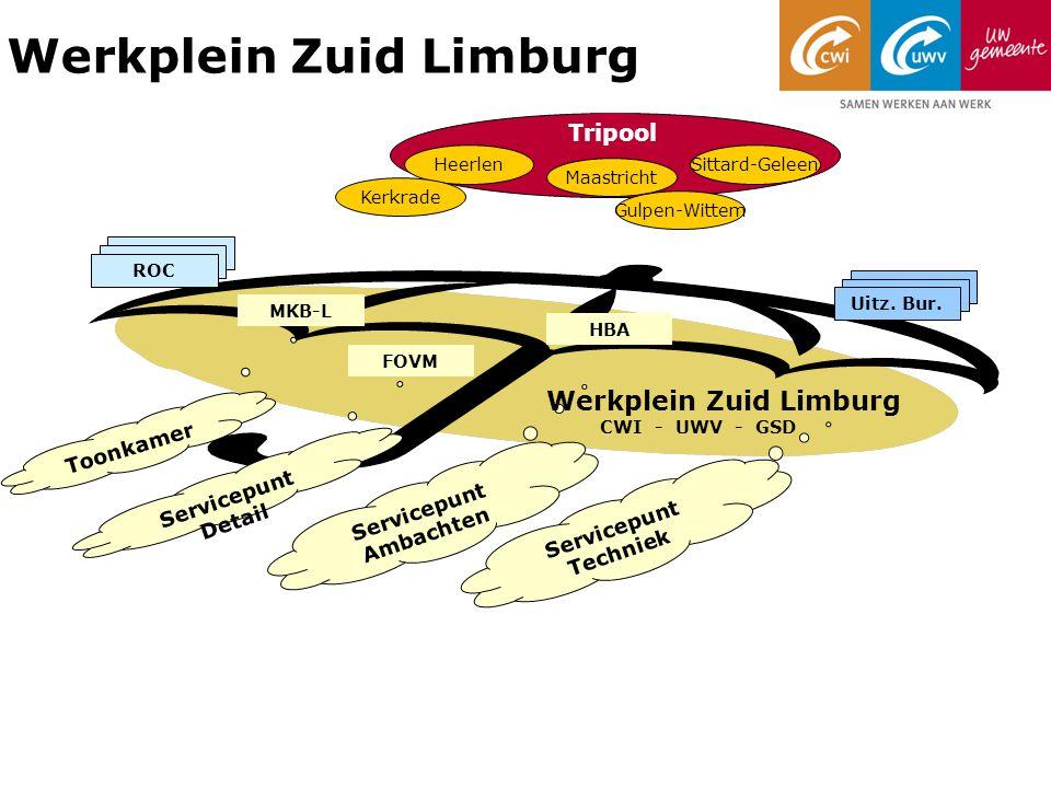 Werkplein Zuid Limburg Servicepunt Detail Servicepunt Ambachten Servicepunt Techniek Werkplein Zuid Limburg CWI - UWV - GSD Leerwerkloket Heerlen Maastricht Sittard-Geleen Tripool Kerkrade Gulpen-Wittem Toonkamer Uitz.