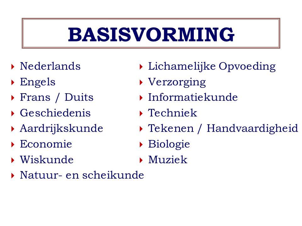 BASISVORMING  Nederlands  Engels  Frans / Duits  Geschiedenis  Aardrijkskunde  Economie  Wiskunde  Natuur- en scheikunde  Lichamelijke Opvoeding  Verzorging  Informatiekunde  Techniek  Tekenen / Handvaardigheid  Biologie  Muziek