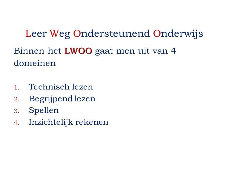 Leer Weg Ondersteunend Onderwijs LWOO Binnen het LWOO gaat men uit van 4 domeinen 1. Technisch lezen 2. Begrijpend lezen 3. Spellen 4. Inzichtelijk re