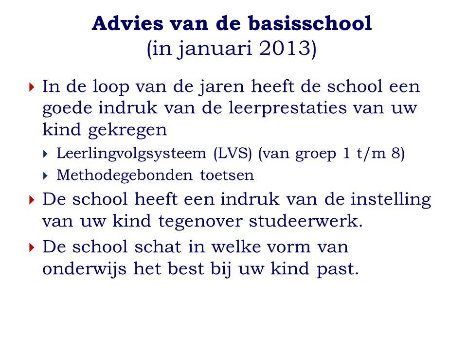 Advies van de basisschool (in januari 2013)  In de loop van de jaren heeft de school een goede indruk van de leerprestaties van uw kind gekregen  Le