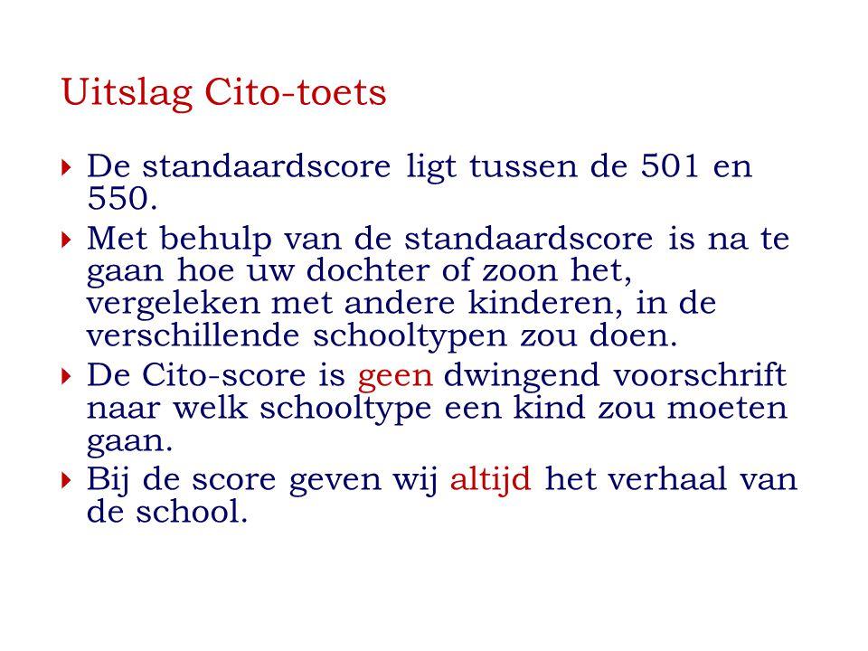 Uitslag Cito-toets  De standaardscore ligt tussen de 501 en 550.  Met behulp van de standaardscore is na te gaan hoe uw dochter of zoon het, vergele