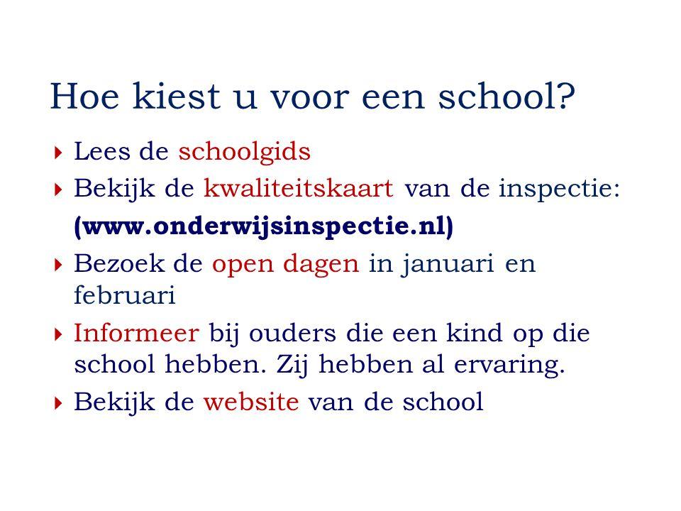 Hoe kiest u voor een school?  Lees de schoolgids  Bekijk de kwaliteitskaart van de inspectie: (www.onderwijsinspectie.nl)  Bezoek de open dagen in