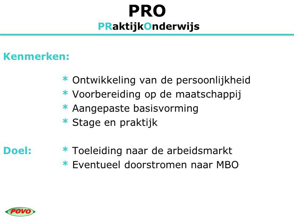 VMBO Voorbereidend Middelbaar BeroepsOnderwijs Kenmerken: * Algemeen programma in de onderbouw * Leerwegen in de bovenbouw * Leerwegondersteuning (extra zorg) * Theorie & praktijk (inclusief stage) Doel:* Vervolgopleiding MBO & HAVO