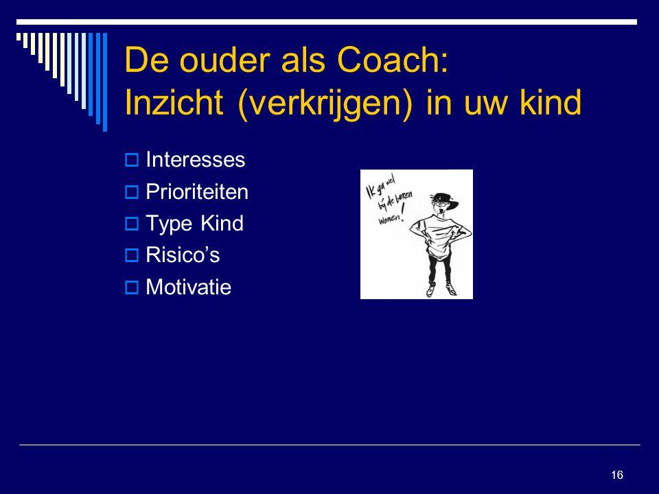 16 De ouder als Coach: Inzicht (verkrijgen) in uw kind  Interesses  Prioriteiten  Type Kind  Risico's  Motivatie