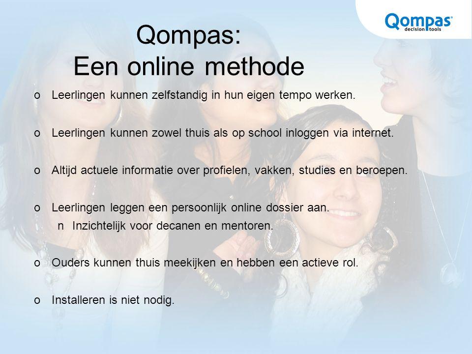 Qompas: Een online methode  Leerlingen kunnen zelfstandig in hun eigen tempo werken.  Leerlingen kunnen zowel thuis als op school inloggen via inter