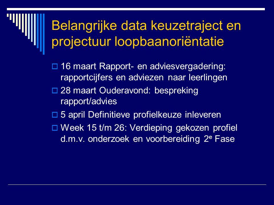 Belangrijke data keuzetraject en projectuur loopbaanoriëntatie  16 maart Rapport- en adviesvergadering: rapportcijfers en adviezen naar leerlingen 