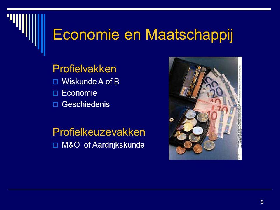 9 Economie en Maatschappij Profielvakken  Wiskunde A of B  Economie  Geschiedenis Profielkeuzevakken  M&O of Aardrijkskunde
