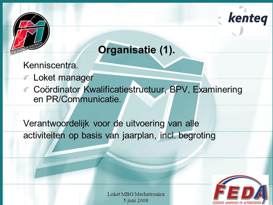 Loket MBO Mechatronica 5 juni 2008 Organisatie (1). Kenniscentra. Loket manager Coördinator Kwalificatiestructuur, BPV, Examinering en PR/Communicatie