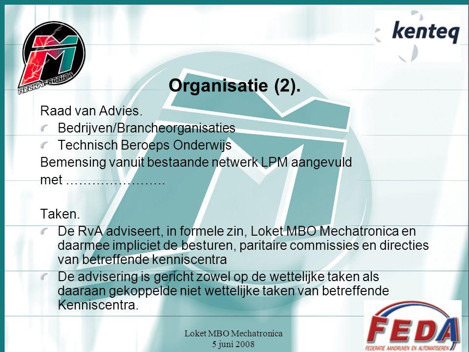 Loket MBO Mechatronica 5 juni 2008 Organisatie (2). Raad van Advies. Bedrijven/Brancheorganisaties Technisch Beroeps Onderwijs Bemensing vanuit bestaa