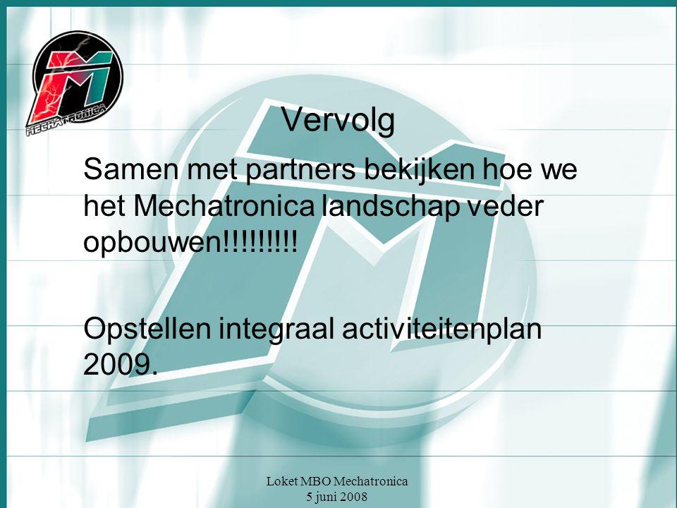 Loket MBO Mechatronica 5 juni 2008 Vervolg Samen met partners bekijken hoe we het Mechatronica landschap veder opbouwen!!!!!!!!.