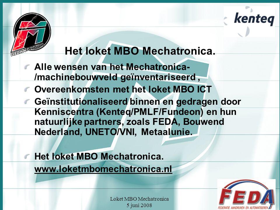 Loket MBO Mechatronica 5 juni 2008 Het loket MBO Mechatronica. Alle wensen van het Mechatronica- /machinebouwveld geïnventariseerd, Overeenkomsten met