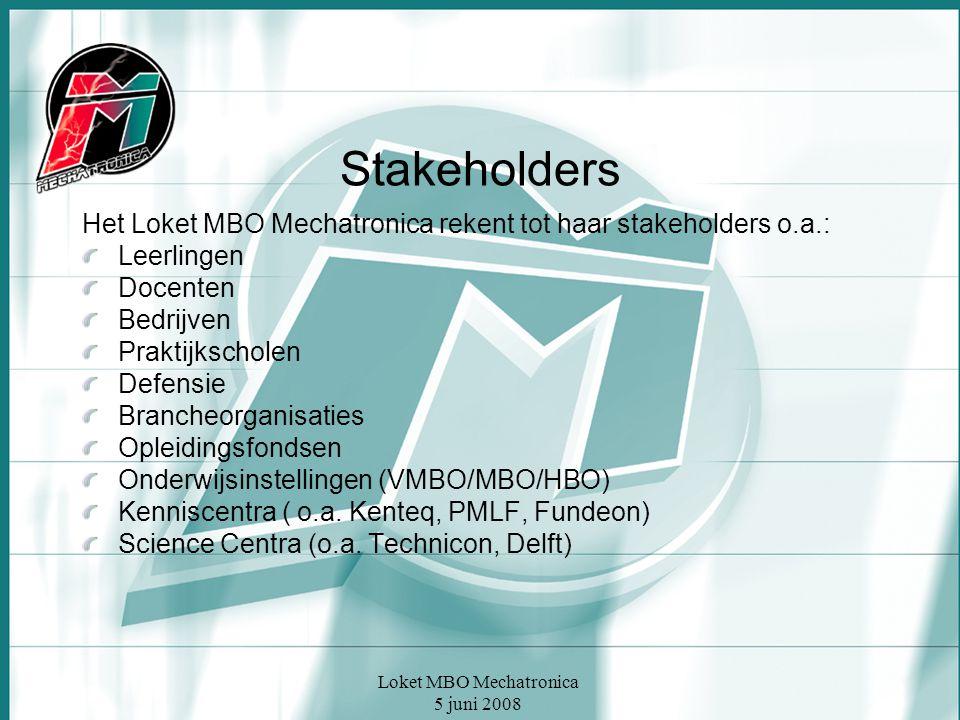 Loket MBO Mechatronica 5 juni 2008 Stakeholders Het Loket MBO Mechatronica rekent tot haar stakeholders o.a.: Leerlingen Docenten Bedrijven Praktijkscholen Defensie Brancheorganisaties Opleidingsfondsen Onderwijsinstellingen (VMBO/MBO/HBO) Kenniscentra ( o.a.