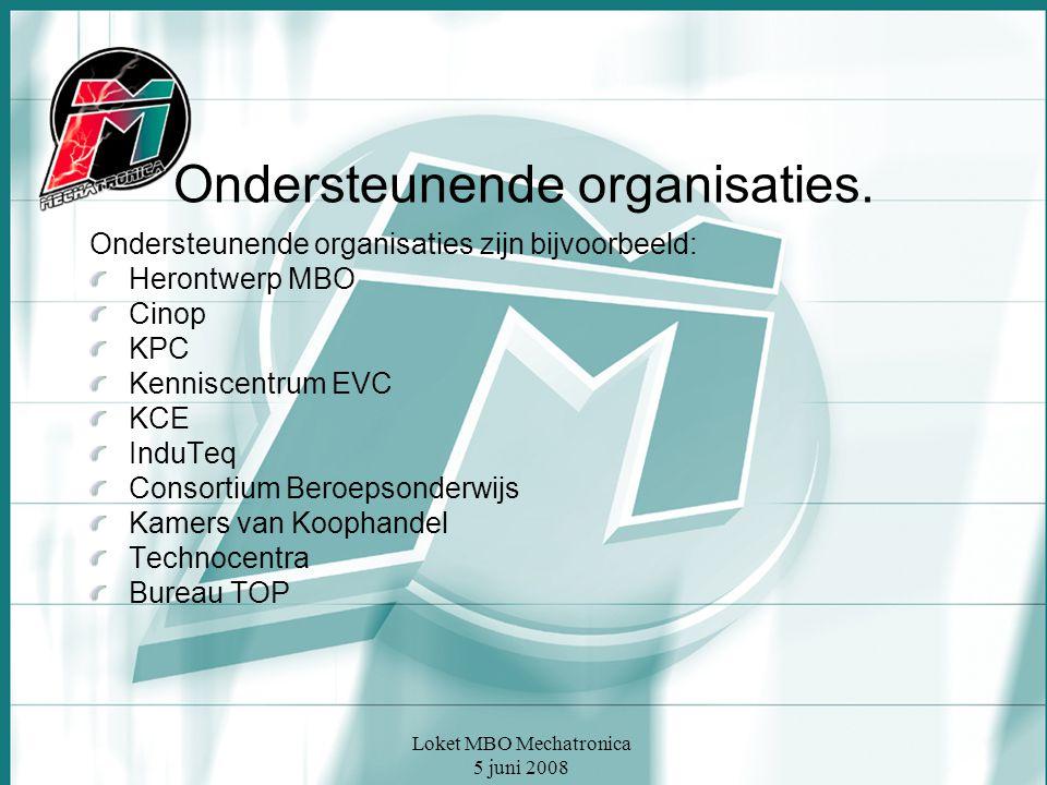 Loket MBO Mechatronica 5 juni 2008 Ondersteunende organisaties. Ondersteunende organisaties zijn bijvoorbeeld: Herontwerp MBO Cinop KPC Kenniscentrum
