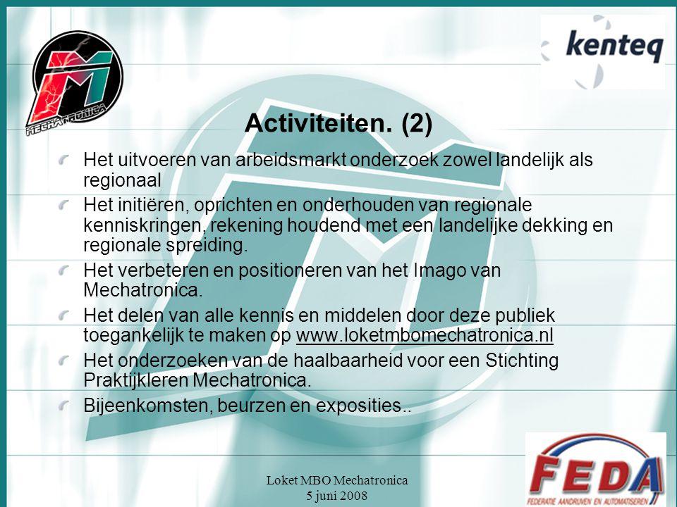 Loket MBO Mechatronica 5 juni 2008 Activiteiten. (2) Het uitvoeren van arbeidsmarkt onderzoek zowel landelijk als regionaal Het initiëren, oprichten e