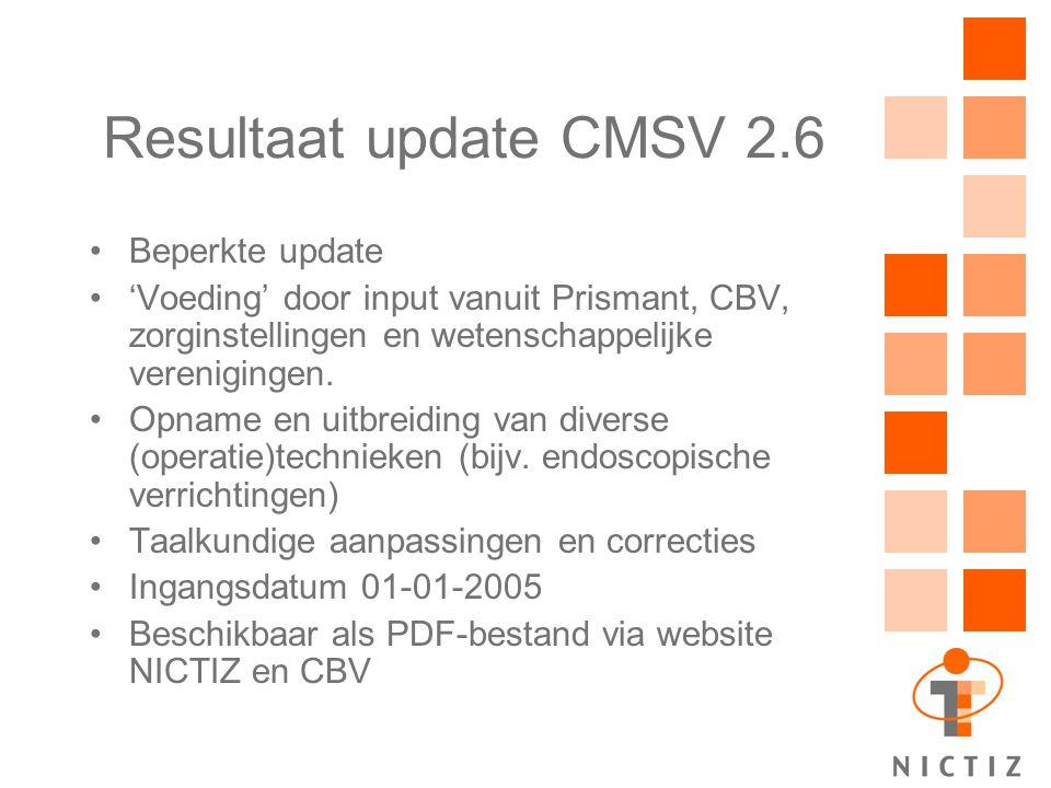 Resultaat update CMSV 2.6 Beperkte update 'Voeding' door input vanuit Prismant, CBV, zorginstellingen en wetenschappelijke verenigingen. Opname en uit