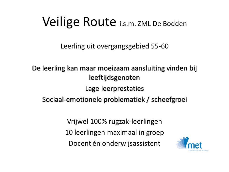 Veilige Route i.s.m. ZML De Bodden Leerling uit overgangsgebied 55-60 De leerling kan maar moeizaam aansluiting vinden bij leeftijdsgenoten Lage leerp