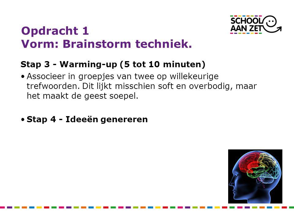 Opdracht 1 Vorm: Brainstorm techniek. Stap 3 - Warming-up (5 tot 10 minuten) Associeer in groepjes van twee op willekeurige trefwoorden. Dit lijkt mis