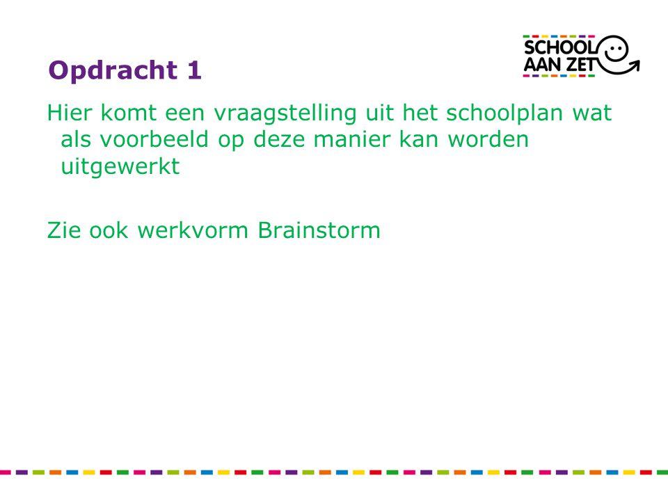 Opdracht 1 Hier komt een vraagstelling uit het schoolplan wat als voorbeeld op deze manier kan worden uitgewerkt Zie ook werkvorm Brainstorm