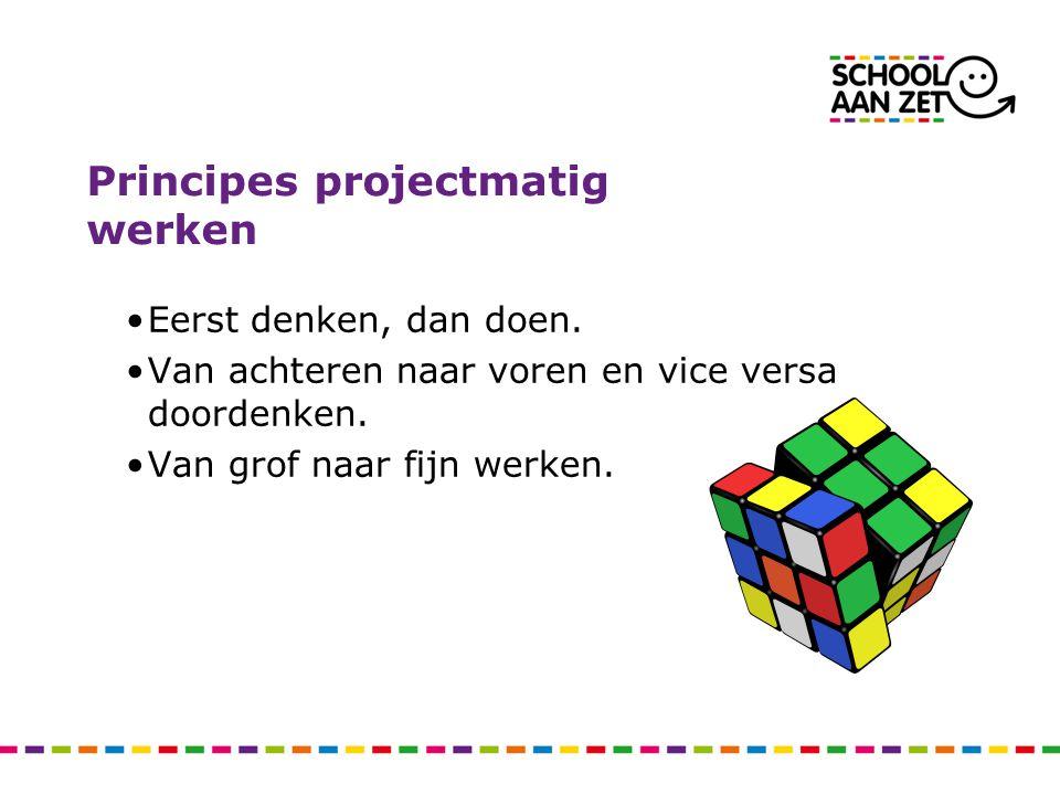 Principes projectmatig werken Eerst denken, dan doen. Van achteren naar voren en vice versa doordenken. Van grof naar fijn werken.