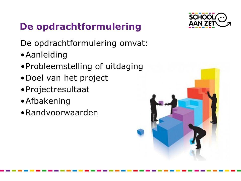 De opdrachtformulering De opdrachtformulering omvat: Aanleiding Probleemstelling of uitdaging Doel van het project Projectresultaat Afbakening Randvoo