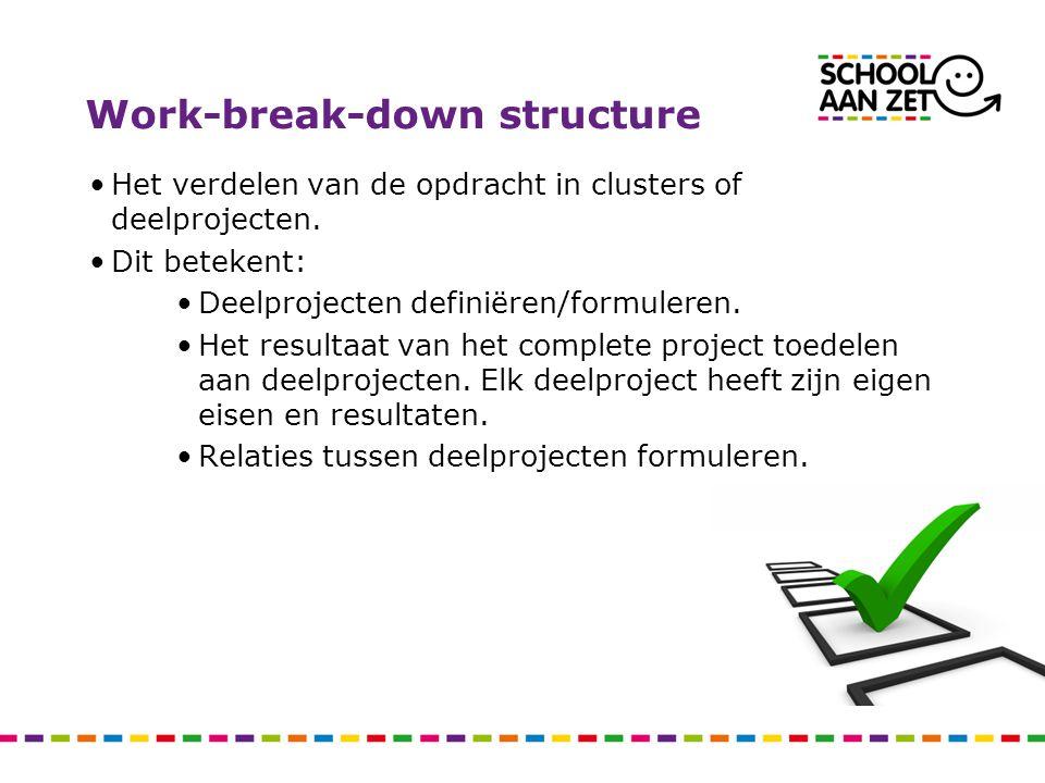 Work-break-down structure Het verdelen van de opdracht in clusters of deelprojecten. Dit betekent: Deelprojecten definiëren/formuleren. Het resultaat
