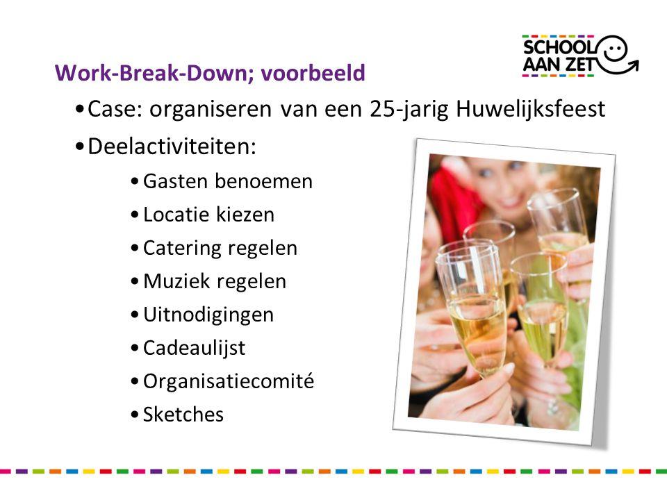 Work-Break-Down; voorbeeld Case: organiseren van een 25-jarig Huwelijksfeest Deelactiviteiten: Gasten benoemen Locatie kiezen Catering regelen Muziek