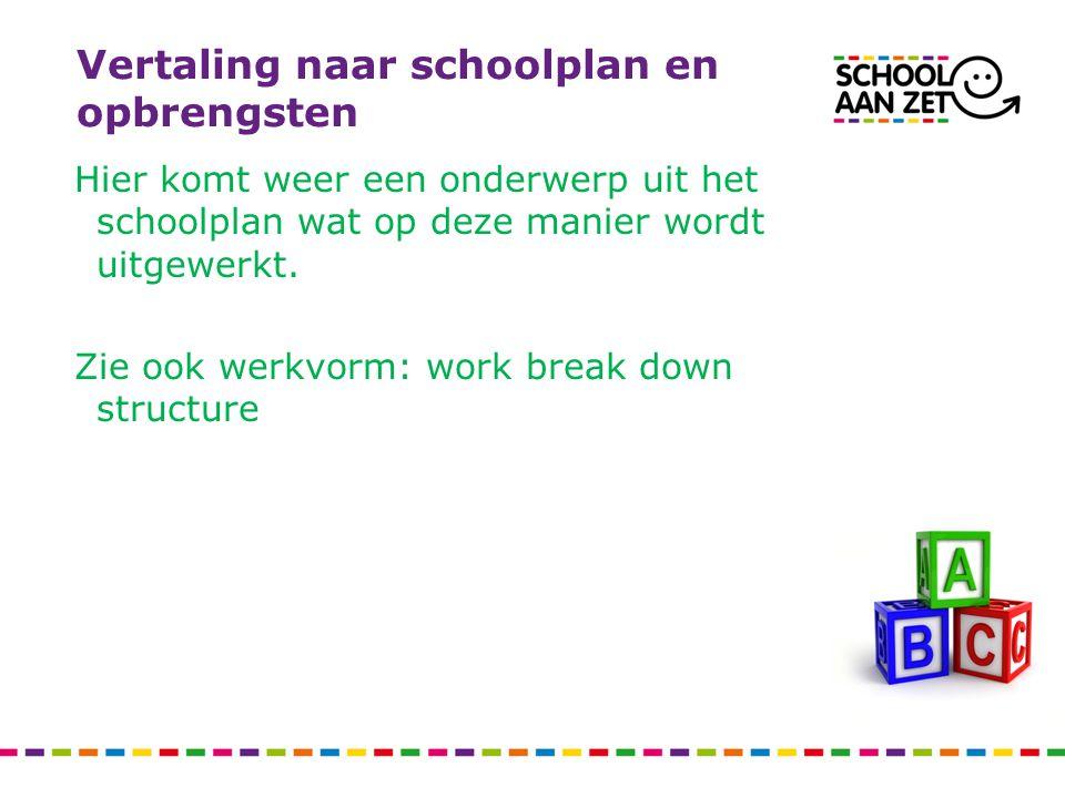 Vertaling naar schoolplan en opbrengsten Hier komt weer een onderwerp uit het schoolplan wat op deze manier wordt uitgewerkt. Zie ook werkvorm: work b