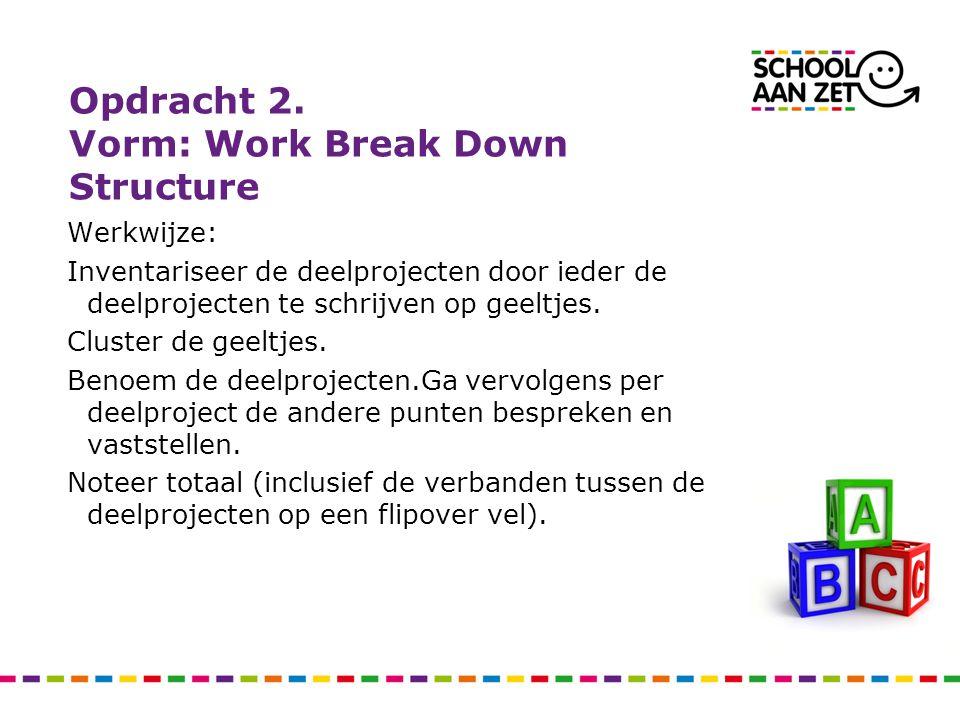 Opdracht 2. Vorm: Work Break Down Structure Werkwijze: Inventariseer de deelprojecten door ieder de deelprojecten te schrijven op geeltjes. Cluster de