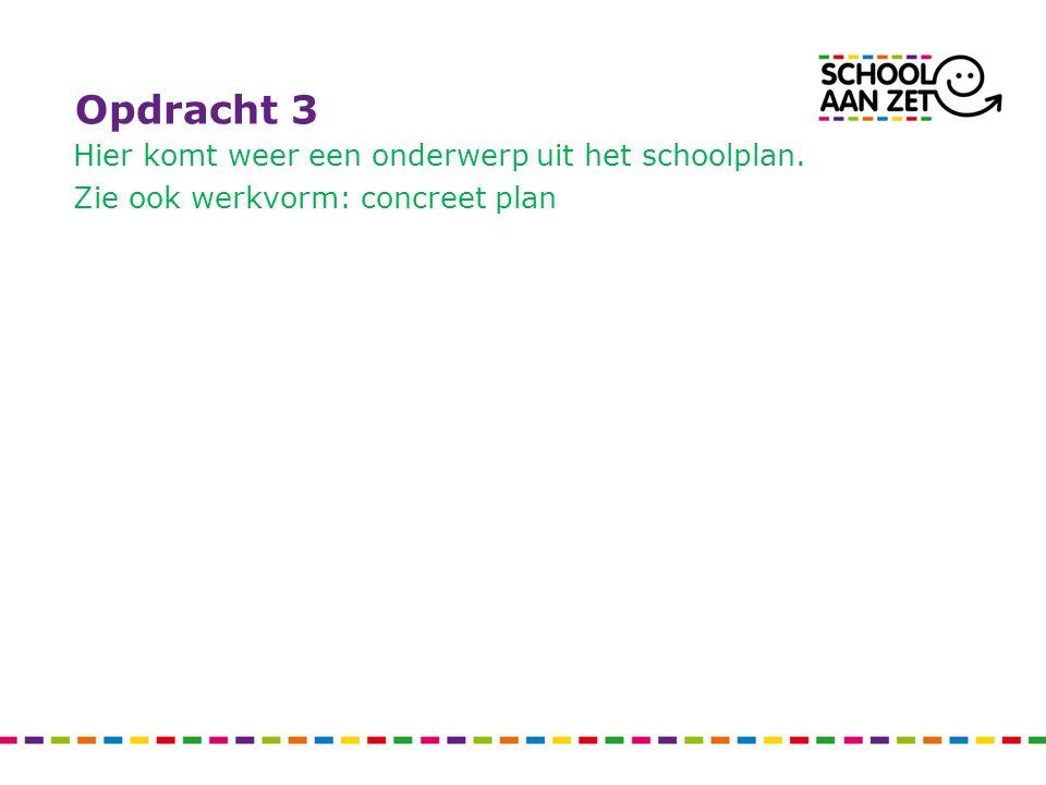 Opdracht 3 Hier komt weer een onderwerp uit het schoolplan. Zie ook werkvorm: concreet plan