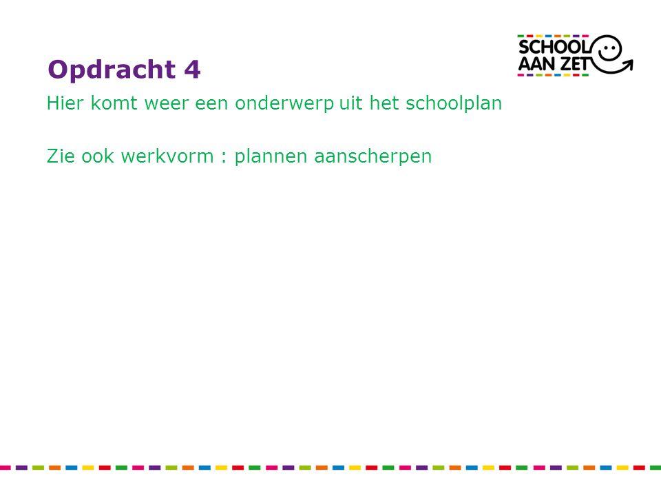 Opdracht 4 Hier komt weer een onderwerp uit het schoolplan Zie ook werkvorm : plannen aanscherpen