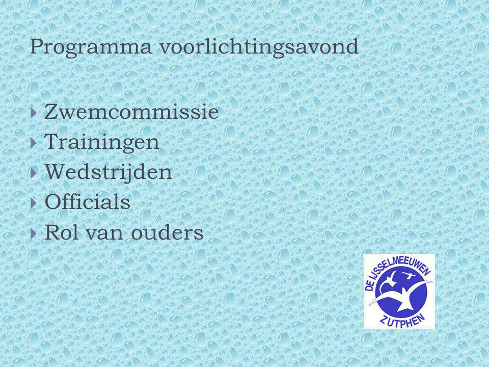 Programma voorlichtingsavond  Zwemcommissie  Trainingen  Wedstrijden  Officials  Rol van ouders