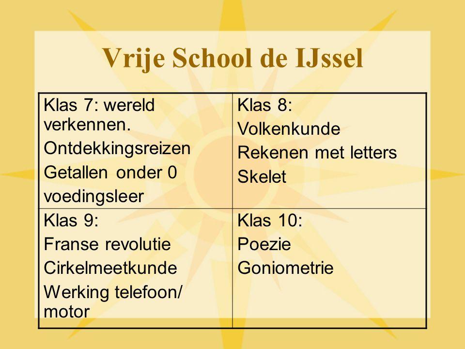 Vrije School de IJssel Klas 7: wereld verkennen. Ontdekkingsreizen Getallen onder 0 voedingsleer Klas 8: Volkenkunde Rekenen met letters Skelet Klas 9