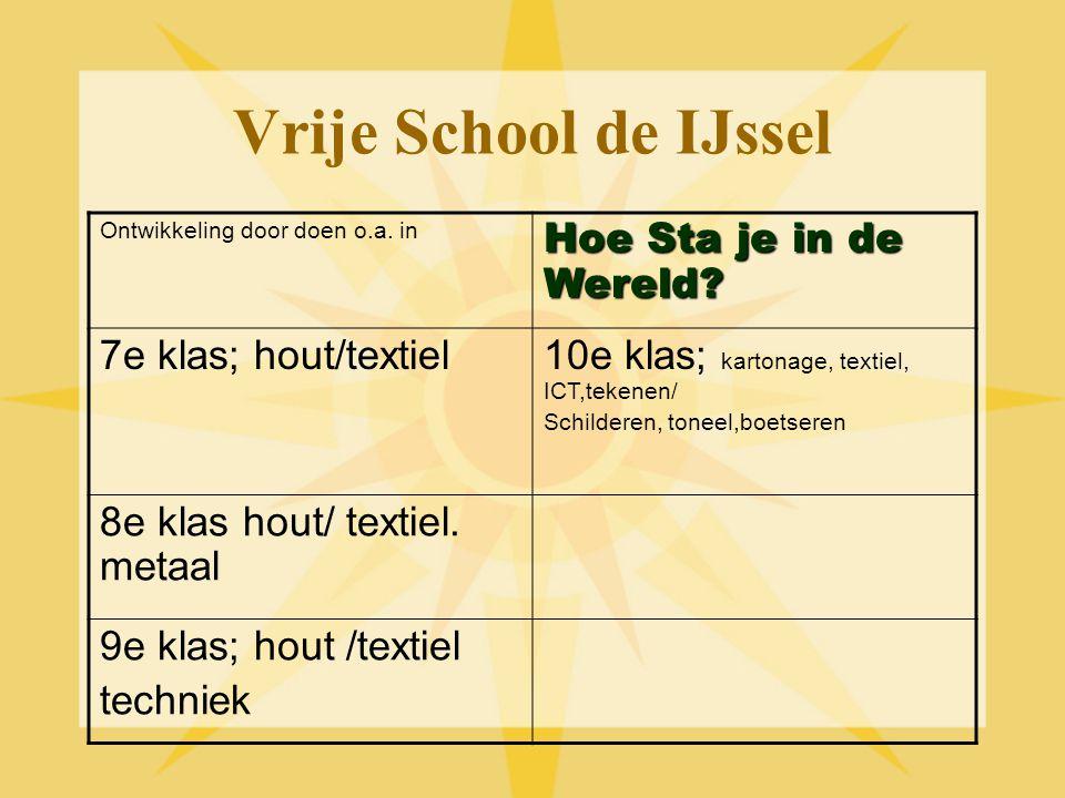 Vrije School de IJssel Ontwikkeling door doen o.a. in Hoe Sta je in de Wereld? 7e klas; hout/textiel10e klas; kartonage, textiel, ICT,tekenen/ Schilde