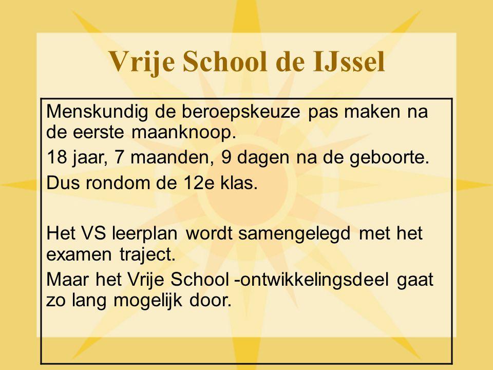 Vrije School de IJssel Menskundig de beroepskeuze pas maken na de eerste maanknoop. 18 jaar, 7 maanden, 9 dagen na de geboorte. Dus rondom de 12e klas