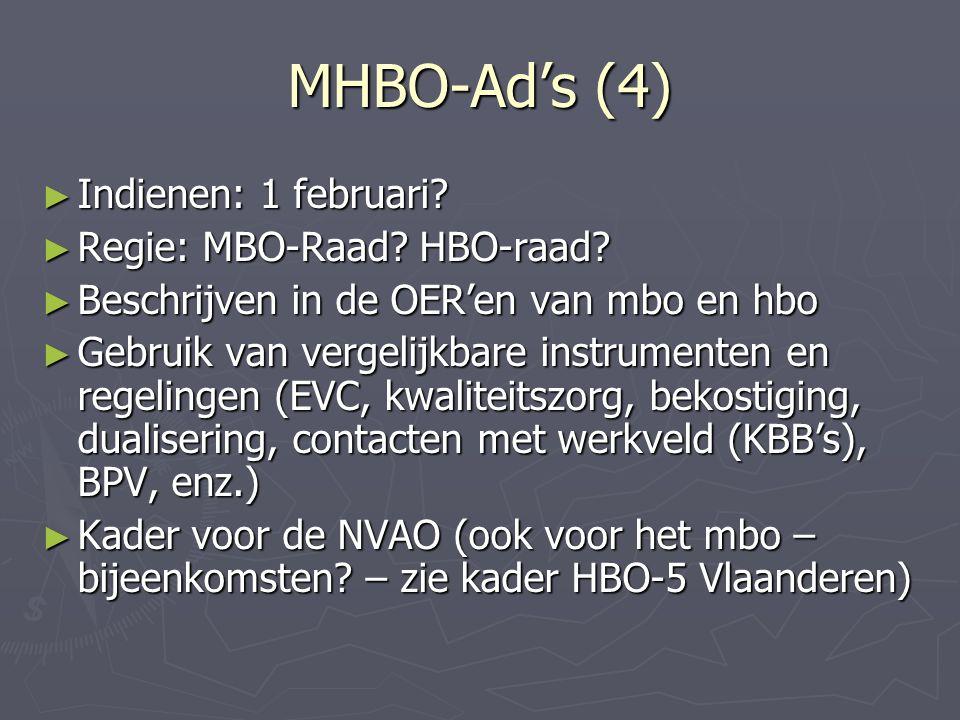 MHBO-Ad's (4) ► Indienen: 1 februari? ► Regie: MBO-Raad? HBO-raad? ► Beschrijven in de OER'en van mbo en hbo ► Gebruik van vergelijkbare instrumenten