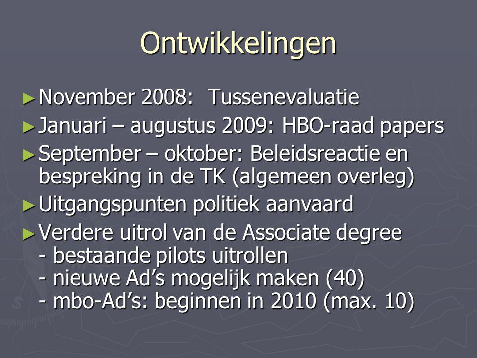 Ontwikkelingen ► November 2008: Tussenevaluatie ► Januari – augustus 2009: HBO-raad papers ► September – oktober: Beleidsreactie en bespreking in de TK (algemeen overleg) ► Uitgangspunten politiek aanvaard ► Verdere uitrol van de Associate degree - bestaande pilots uitrollen - nieuwe Ad's mogelijk maken (40) - mbo-Ad's: beginnen in 2010 (max.