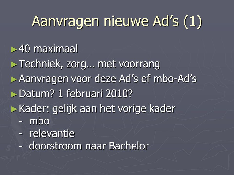 Aanvragen nieuwe Ad's (1) ► 40 maximaal ► Techniek, zorg… met voorrang ► Aanvragen voor deze Ad's of mbo-Ad's ► Datum.