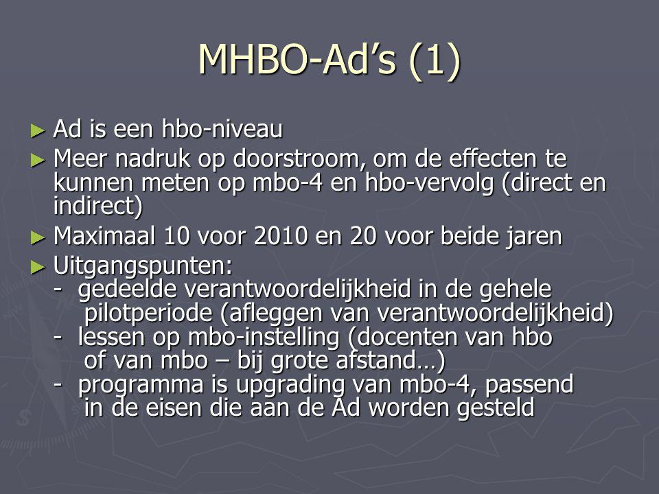 MHBO-Ad's (1) ► Ad is een hbo-niveau ► Meer nadruk op doorstroom, om de effecten te kunnen meten op mbo-4 en hbo-vervolg (direct en indirect) ► Maximaal 10 voor 2010 en 20 voor beide jaren ► Uitgangspunten: - gedeelde verantwoordelijkheid in de gehele pilotperiode (afleggen van verantwoordelijkheid) - lessen op mbo-instelling (docenten van hbo of van mbo – bij grote afstand…) - programma is upgrading van mbo-4, passend in de eisen die aan de Ad worden gesteld