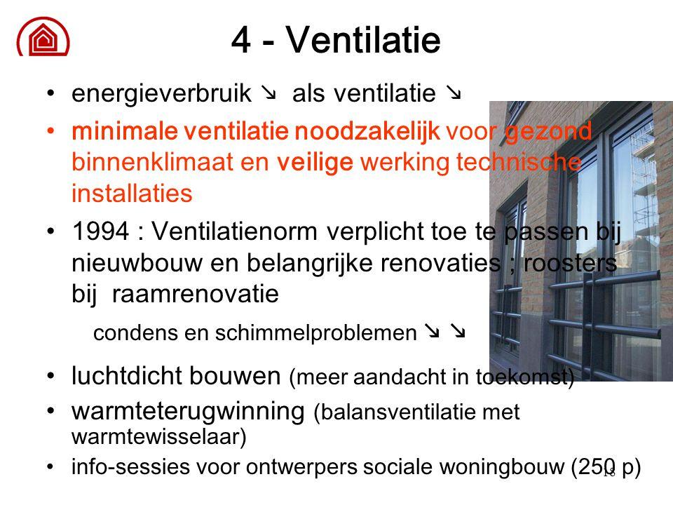 18 4 - Ventilatie energieverbruik  als ventilatie  minimale ventilatie noodzakelijk voor gezond binnenklimaat en veilige werking technische installa