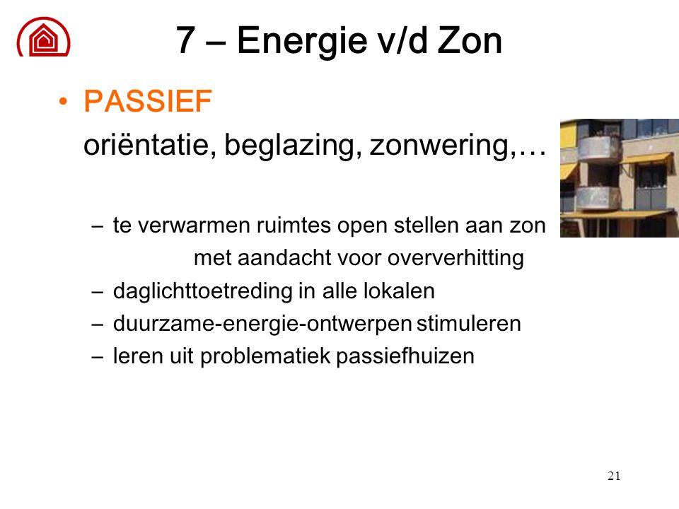 21 7 – Energie v/d Zon PASSIEF oriëntatie, beglazing, zonwering,… –te verwarmen ruimtes open stellen aan zon met aandacht voor oververhitting –daglich