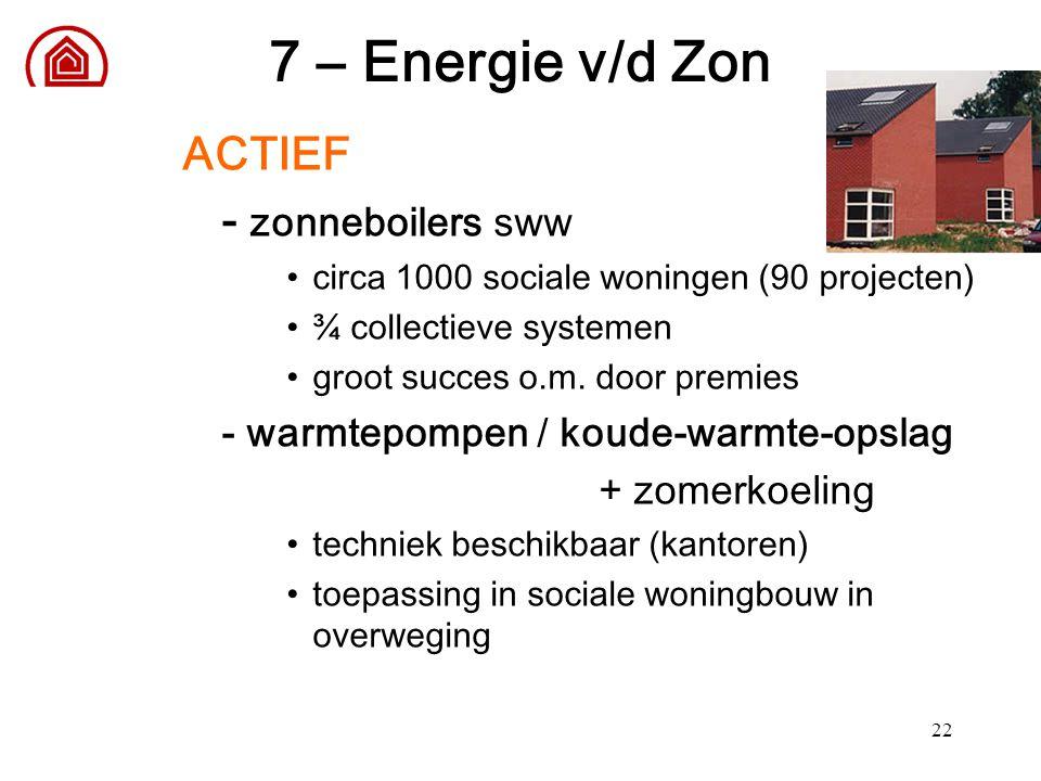 22 7 – Energie v/d Zon ACTIEF - zonneboilers sww circa 1000 sociale woningen (90 projecten) ¾ collectieve systemen groot succes o.m. door premies - wa