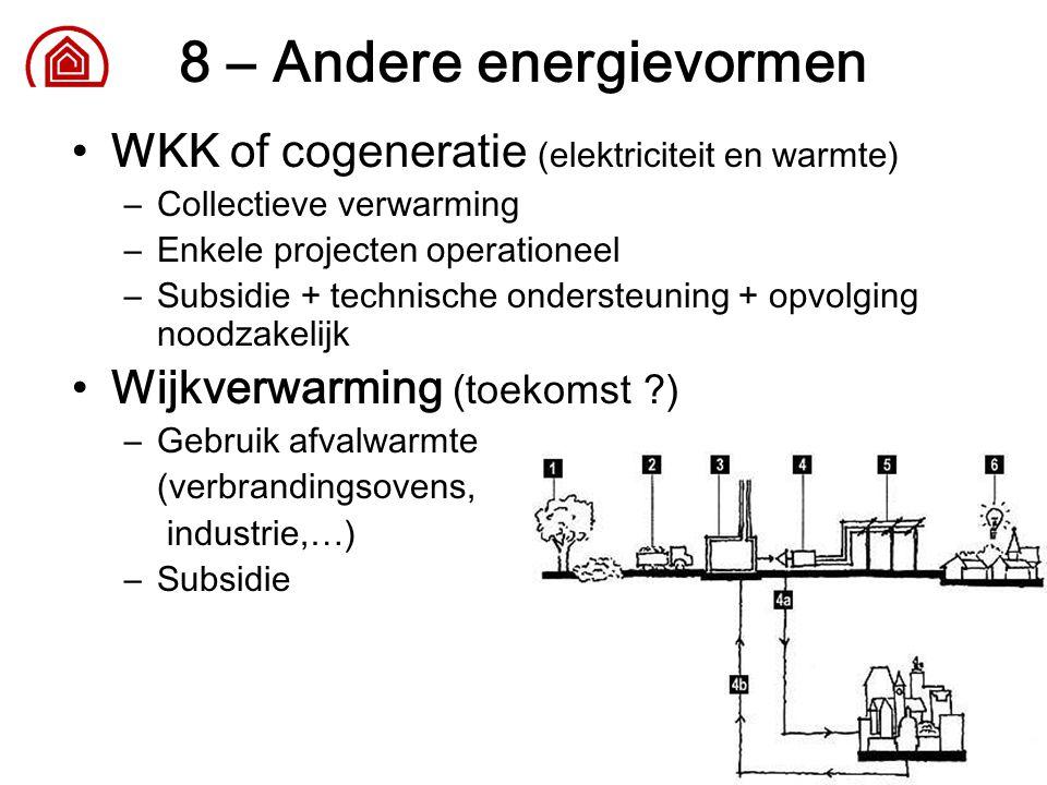 23 8 – Andere energievormen WKK of cogeneratie (elektriciteit en warmte) –Collectieve verwarming –Enkele projecten operationeel –Subsidie + technische