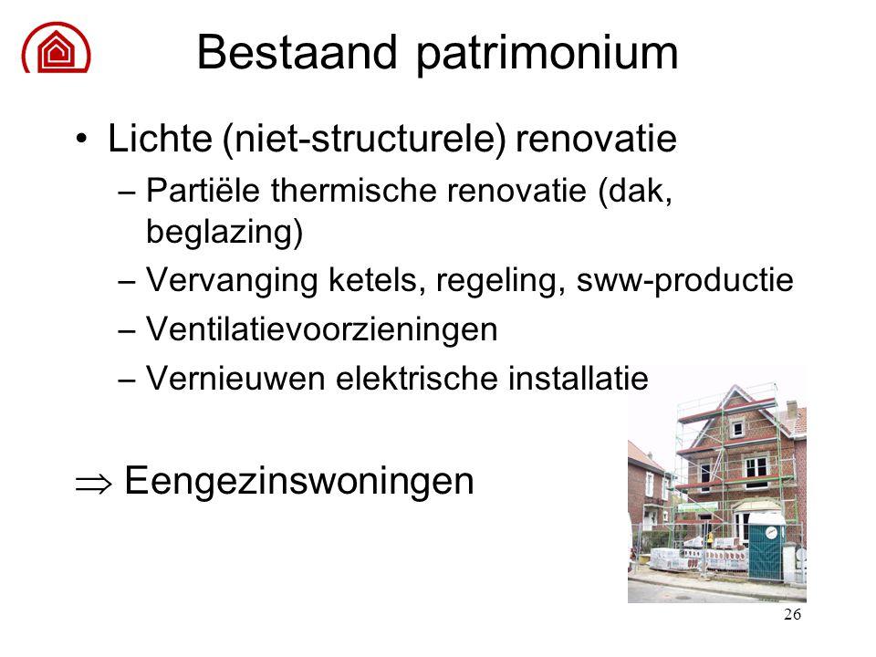 26 Lichte (niet-structurele) renovatie –Partiële thermische renovatie (dak, beglazing) –Vervanging ketels, regeling, sww-productie –Ventilatievoorzien