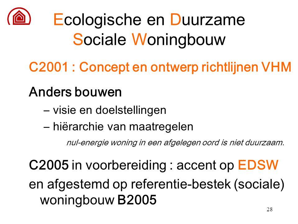 28 Ecologische en Duurzame Sociale Woningbouw C2001 : Concept en ontwerp richtlijnen VHM Anders bouwen –visie en doelstellingen –hiërarchie van maatre