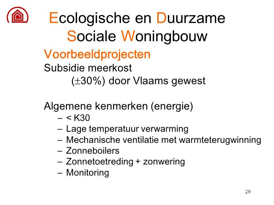29 Voorbeeldprojecten Subsidie meerkost (  30%) door Vlaams gewest Algemene kenmerken (energie) –< K30 –Lage temperatuur verwarming –Mechanische vent