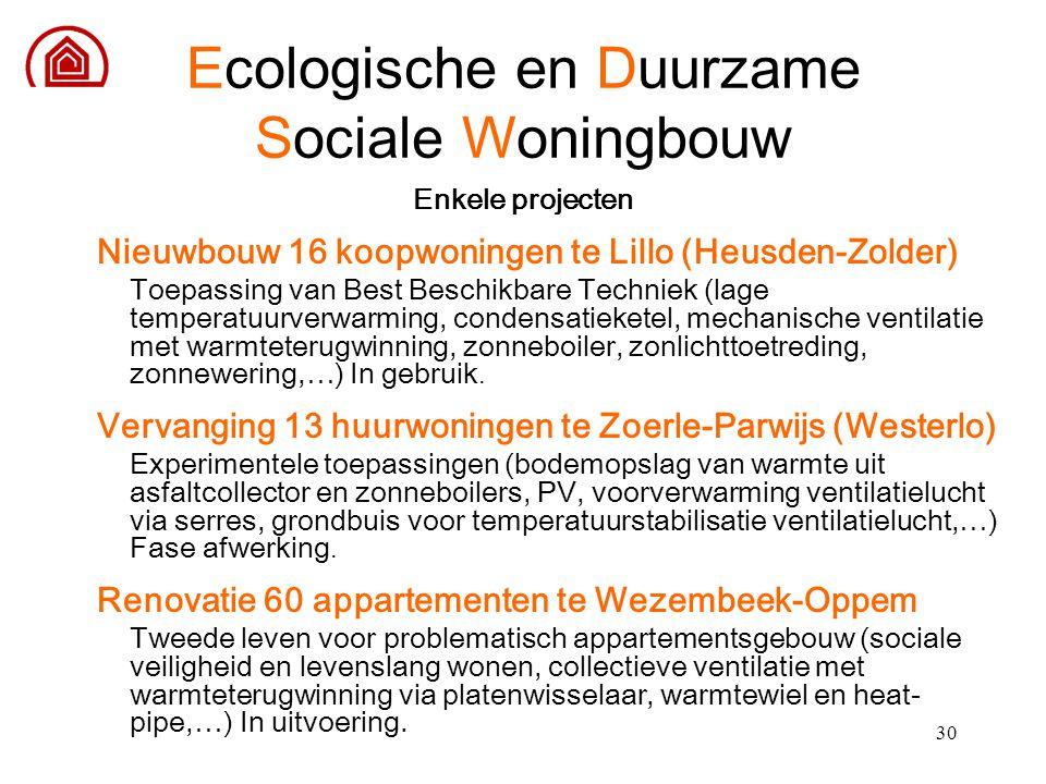 30 Enkele projecten Nieuwbouw 16 koopwoningen te Lillo (Heusden-Zolder) Toepassing van Best Beschikbare Techniek (lage temperatuurverwarming, condensa