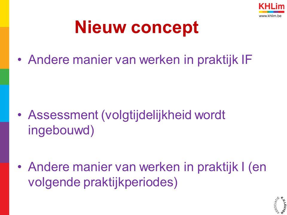 Nieuw concept Andere manier van werken in praktijk IF Assessment (volgtijdelijkheid wordt ingebouwd) Andere manier van werken in praktijk I (en volgende praktijkperiodes)