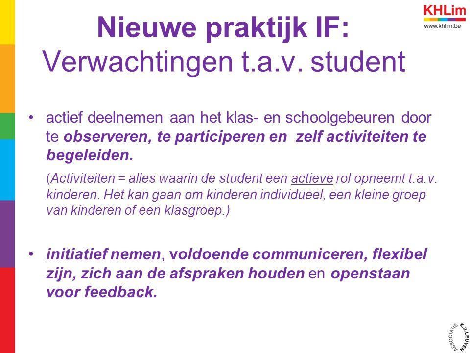 Nieuwe praktijk IF: Verwachtingen t.a.v. student actief deelnemen aan het klas- en schoolgebeuren door te observeren, te participeren en zelf activite