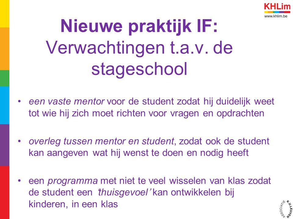 Nieuwe praktijk IF: Verwachtingen t.a.v. de stageschool een vaste mentor voor de student zodat hij duidelijk weet tot wie hij zich moet richten voor v